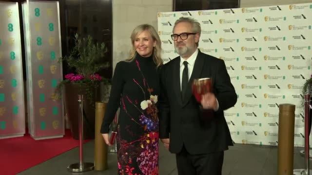 sam mendes with wife alison balsom after bafta film awards 2020 after his film 1917 won seven awards including best film and best director - 1917 stock videos & royalty-free footage