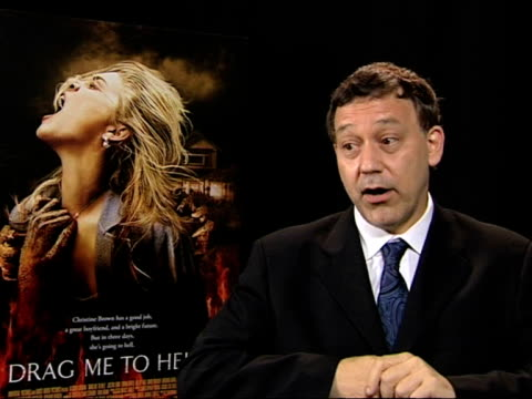 sam raimi on getting the actors to go through the abuse of the scenes in the movie at the cannes film festival 2009 drag me to hell interviews at... - 62 ° festival internazionale del cinema di cannes video stock e b–roll