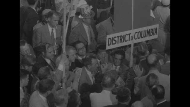 sam rayburn bangs gavel at rostrum at democratic national convention / [7/23/1952] rayburn with vice president alben barkley at rostrum / barkley and... - sam rayburn video stock e b–roll