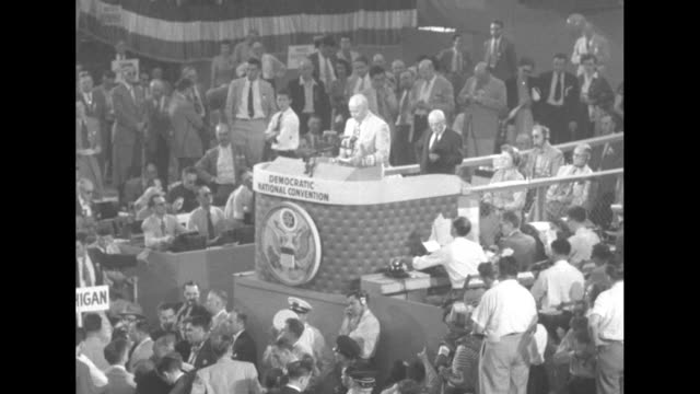 sam rayburn convention chairman at rostrum introducing calvin rawlings credentials committee official / sots rawlings reads committee's position the... - sam rayburn stock videos and b-roll footage