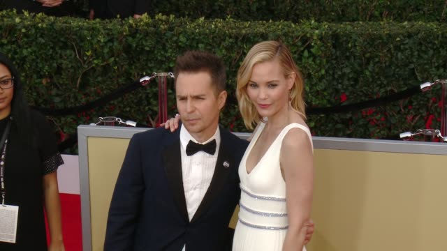 Sam Rockwell and Leslie Bibb at the 24th Annual Screen Actors Guild Awards at The Shrine Auditorium on January 21 2018 in Los Angeles California
