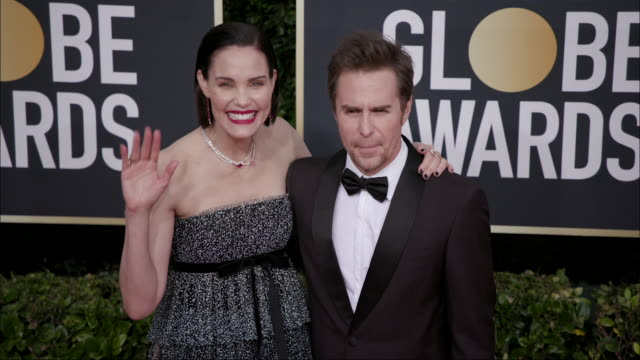 sam rockwell and leslie bibb at the 77th annual golden globe awards at the beverly hilton hotel on january 05 2020 in beverly hills california - the beverly hilton hotel stock-videos und b-roll-filmmaterial