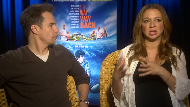 """sam rockwell and maya rudolph on the film and how they felt when they watched it for the first time at """"the way, way back"""" los angeles press junket... - maya rudolph video stock e b–roll"""