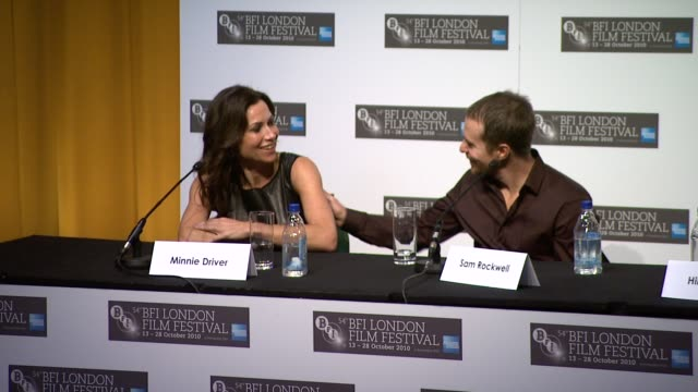 sam rockwell on doing accent interview hilary swank on not being good at accents interview minnie driver on hilary holding accent so well interview... - minnie driver stock videos and b-roll footage
