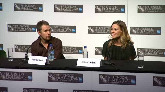 sam rockwell on make up interview hilary swank on how they span 19 years in 2 hours on tony goldwyn on collaboration at the conviction press... - hilary swank stock videos & royalty-free footage