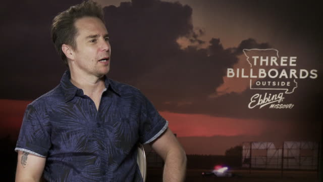 sam rockwell on racist police in the united states, meeting police for research at 'three billboards outside ebbing, missouri' interviews - 74th... - 第74回ベネチア国際映画祭点の映像素材/bロール