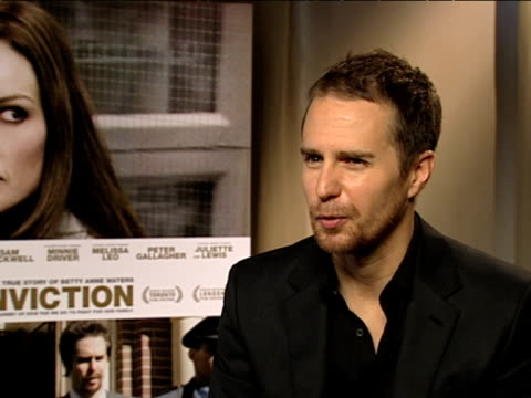 Sam Rockwell on which media helped him the most with his role at the Conviction Interviews at London England