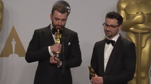 sam smith and jimmy napes at 88th annual academy awards - press room at hollywood & highland center on february 28, 2016 in hollywood, california. - hollywood and highland center stock videos & royalty-free footage