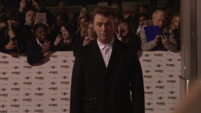 sam smith at mobo awards 2014 at wembley arena on october 22, 2014 in london, england. - wembley arena stock videos & royalty-free footage