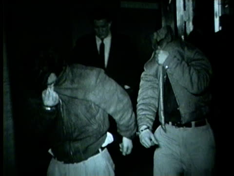 vídeos de stock e filmes b-roll de wgn sam tassone and walter monahan were taken in for question of the slaying of alex louis greenberg a onetime capone gang figure who was shot to... - 1955