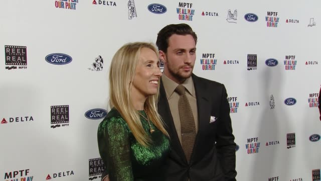 sam taylorjohnson aaron taylorjohnson at the 7th annual reel stories real lives event benefiting mptf at directors guild of america on november 08... - director's guild of america stock videos & royalty-free footage