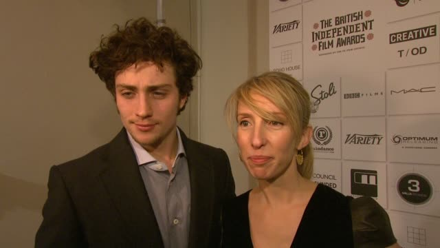 sam taylorwood aaron johnson on her film about a young john lennon on nowhere boy on her affinity with john lennons music at the british independent... - john lennon stock videos and b-roll footage