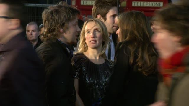 sam taylorwood jamie oliver jools oliver at the kickass uk premiere at london england - kick ass film title stock videos & royalty-free footage