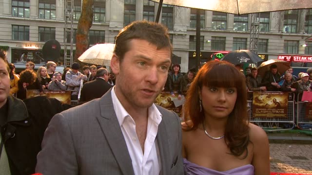 sam worthington on being seen as a demigod on just doing his job on the difference from the original on the director on being nervous at the premiere... - clash of the titans stock videos & royalty-free footage
