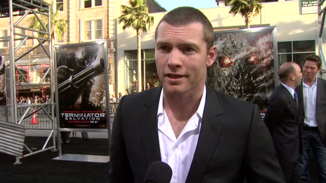 sam worthington on his character, getting the role, the terminator franchise. at the 'terminator salvation' premiere at hollywood ca. - terminator stock videos & royalty-free footage