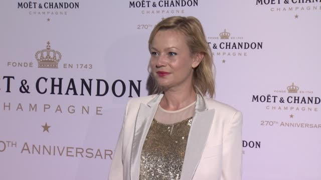 samantha mathis at moet & chandon celebrates its 270th anniversary with new global ambassador international tennis champion, roger federer on august... - samantha mathis stock videos & royalty-free footage