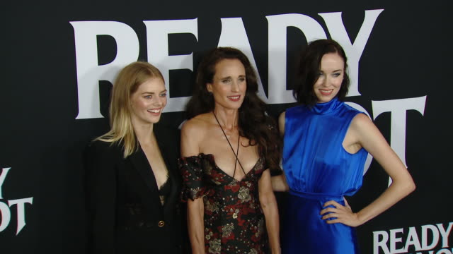 """samara weaving, andie macdowell, elyse levesque at the """"ready or not"""" los angeles special screening presented by fox searchlight pictures in los... - andie macdowell stock videos & royalty-free footage"""