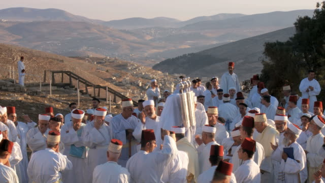 samaritan pilgrimage ceremony at mount gerizim near west bank city of nablus,samaria - israelite stock videos & royalty-free footage