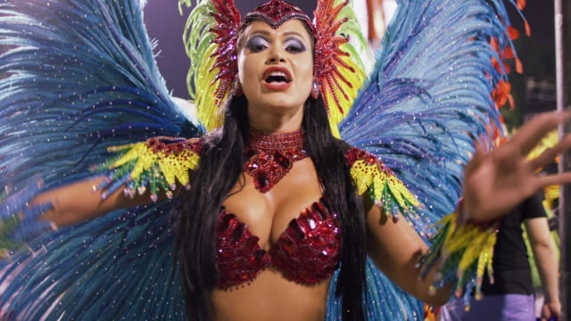 slo mo, ms samba dancers at rio carnival / rio de janeiro, brazil - latin american culture stock videos & royalty-free footage