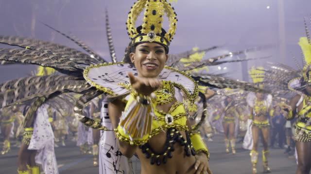 ms samba dancers at rio carnival / rio de janeiro, brazil - brazilian carnival stock videos and b-roll footage