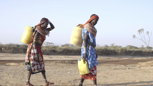 samburu women collecting freshwater from borehole. kenya, africa. - 運ぶ点の映像素材/bロール