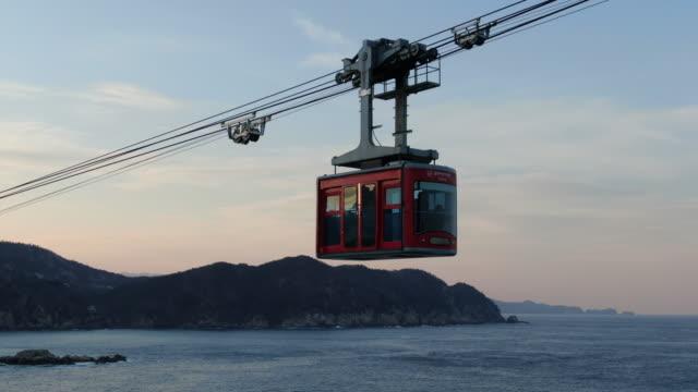 vídeos de stock e filmes b-roll de samcheok marine cable car / samcheok-si, gangwon-do, south korea - linha do elétrico