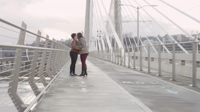 Couple du même sexe s'embrasser sur la passerelle pour piétons