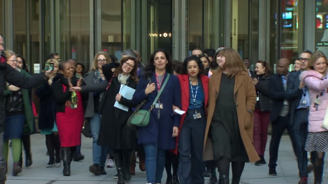 samira ahmed leaving bbc broadcasting house after winning her equal pay case against the bbc - paying stock videos & royalty-free footage