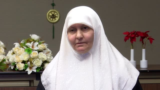 samira mohyeddin, widow of palestinian sheikh abdullah yusuf azzam speaks in an interview in istanbul, turkey on january 31, 2019. azzam, who died... - media occupation stock videos & royalty-free footage