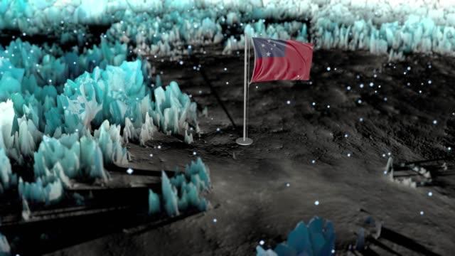 samoa epic flag background loop - samoa stock videos & royalty-free footage