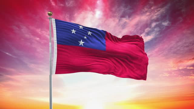 samoa flag, loopable, included green screen chroma key version, waving in wind slow motion animation, 4k realistic fabric texture, continuous seamless loop background - flag stock videos & royalty-free footage