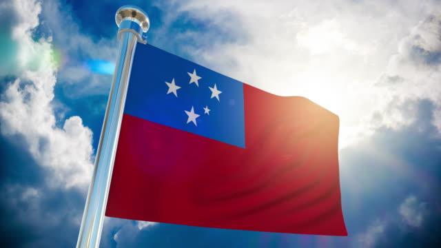 4k samoa flag - loopable stock video - oceania stock videos & royalty-free footage