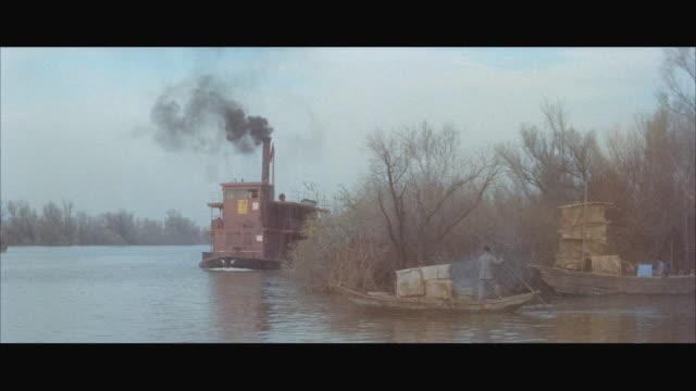 stockvideo's en b-roll-footage met ms pan zi sampan ferryboat moving in river / hong kong  - breedbeeldformaat