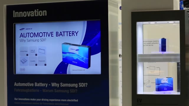 samsung sdi lithium-ion electric automobile battery sits on display at the iaa frankfurt motor show in frankfurt, germany, on wednesday, sept. 16,... - lithium ion battery stock videos & royalty-free footage