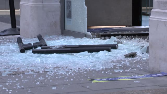 samsung store on oxford street raided england london oxford street ext various of frontage of samsung technology store with broken glass littering... - facade stock videos & royalty-free footage
