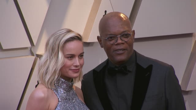 samuel l jackson and brie larson walking the red carpet at the 91st annual academy awards at the dolby theater in los angeles, california. - music or celebrities or fashion or film industry or film premiere or youth culture or novelty item or vacations 個影片檔及 b 捲影像
