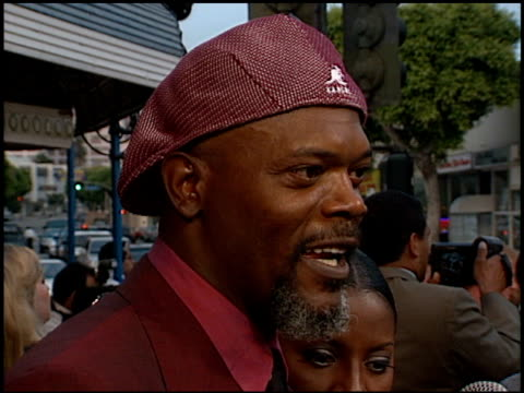 Samuel L Jackson at the Premiere of 'The Negotiator' at the Mann Village Theatre in Westwood California on July 22 1998