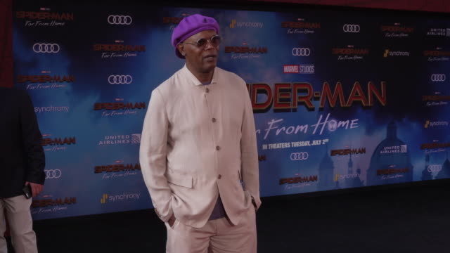 samuel l jackson at the world premiere of spiderman far from home on june 26 2019 in hollywood california - red carpet event stock videos & royalty-free footage