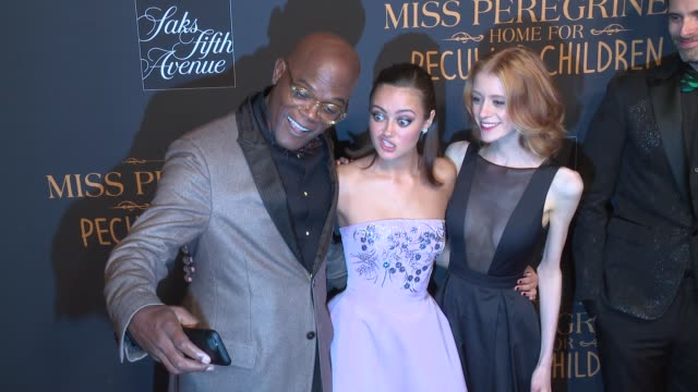 Samuel L Jackson Ella Purnell and Lauren McCrostie at Miss Peregrine's Home For Peculiar Children New York Premiere at Saks Fifth Avenue on September...