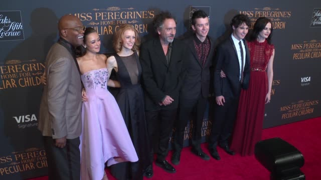 Samuel L Jackson Ella Purnell Lauren McCrostie Tim Burton Asa Butterfield Finlay MacMillan and Eva Green at Miss Peregrine's Home For Peculiar...