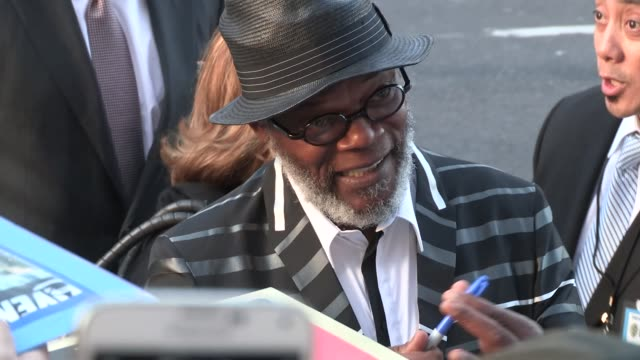 Samuel L Jackson greets fans at the Avengers Age Of Ultron Premiere in Hollywood in Celebrity Sightings in Los Angeles