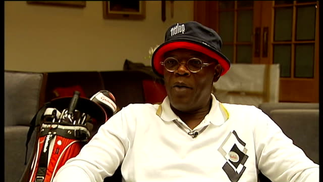 Samuel L Jackson hosts charity golf tournament INT Samuel L Jackson interview SOT Phelps brothers playing golf INT James Phelps interview next Oliver...