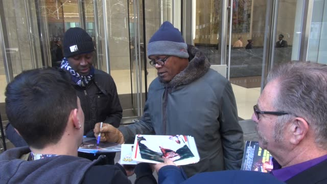 Samuel L Jackson leaving the Howard Stern show at SiriusXM Satellite Radio at Celebrity Sightings in New York on January 05 2016 in New York City