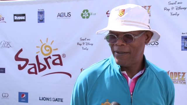 samuel l. jackson on being a part of the afternoon at the 7th annual george lopez celebrity golf classic presented by sabra salsa at lakeside golf... - toluca lake stock videos & royalty-free footage