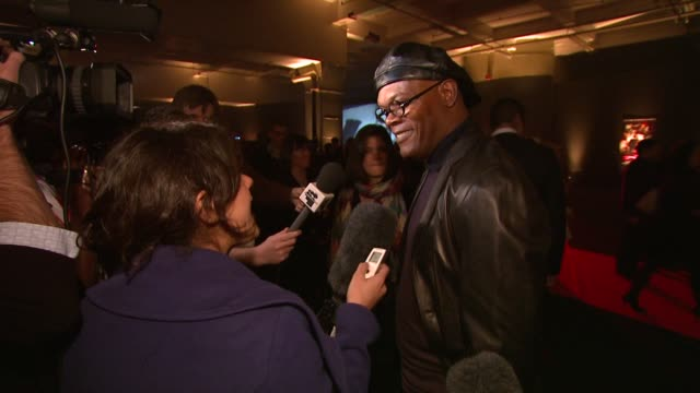Samuel L Jackson on his character getting wearing a nazi outfit at the UK Spirit launch party arrivals at London