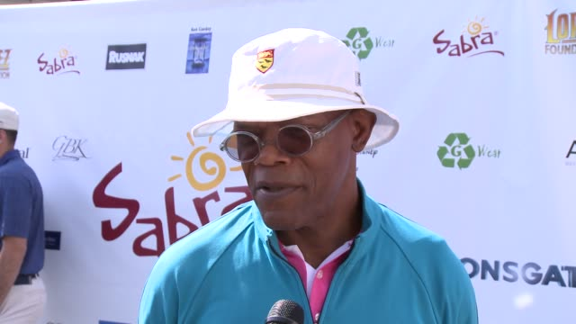 samuel l. jackson on how he got into golf and if he plays often at the 7th annual george lopez celebrity golf classic presented by sabra salsa at... - toluca lake stock videos & royalty-free footage