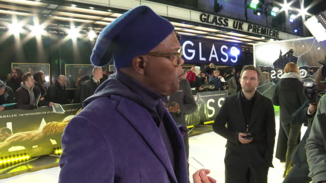 INTERVIEW Samuel L Jackson on pushing through adversary and who the real heroes of today are at 'Glass' European Premiere at The Curzon Mayfair on...
