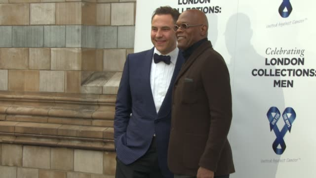 samuel l jackson, sofia davis, colin firth, david walliams at london collections men: one for the boys - charity ball at natural history museum on... - the history boys stock videos & royalty-free footage