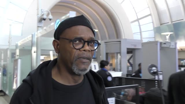 INTERVIEW Samuel L Jackson talks about Ben Carson's comments on slavery while arriving at LAX Airport in Los Angeles Celebrity Sightings on March 07...