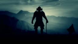 Samurai Lord With Full Armor Preparing For Battle